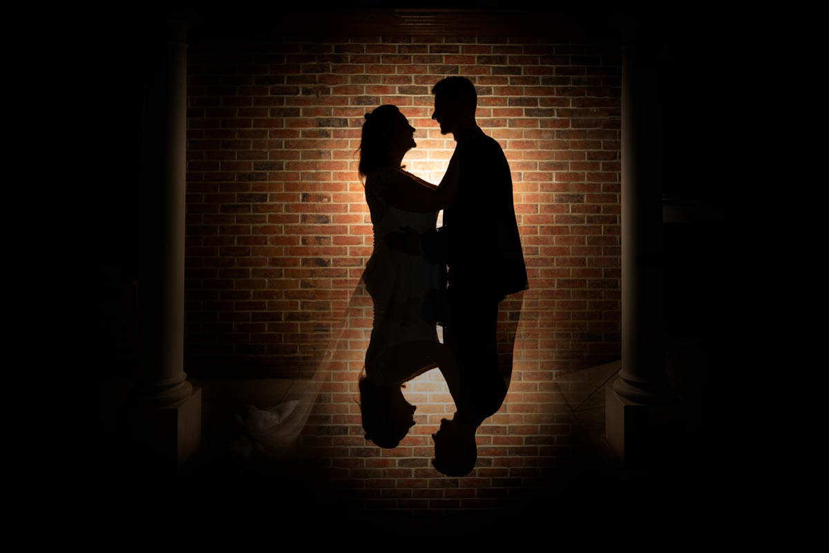 Bride and Groom Silhouette at The Cambridge Belfry