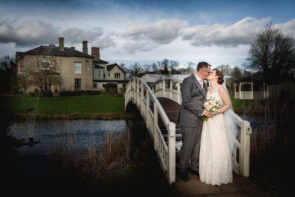Bride and groom on the bride at the Fennes wedding venue