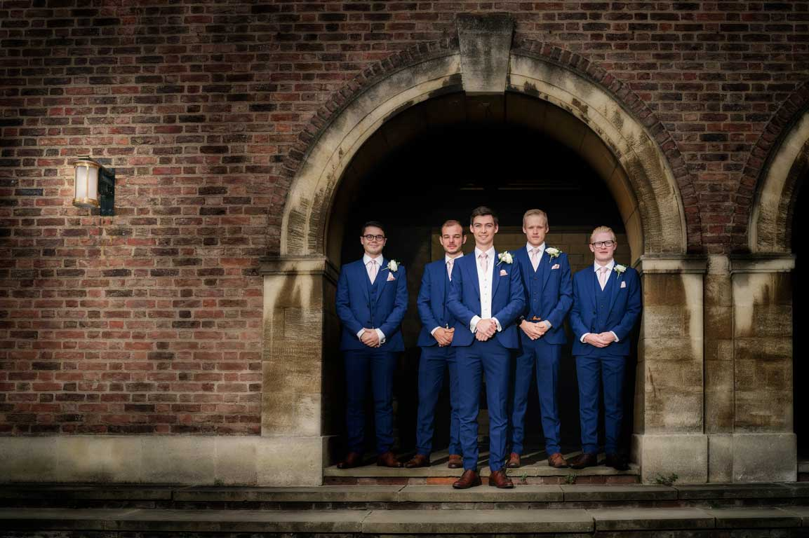 The Groom and groomsmen at the St John's College