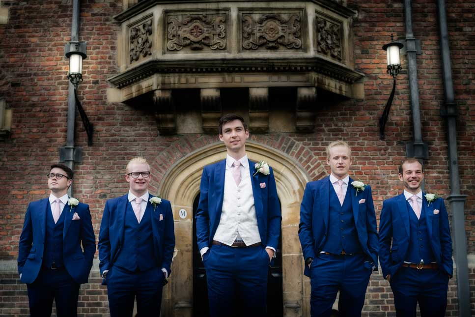 The groom and his groomsmen at St Johns College in Cambridge