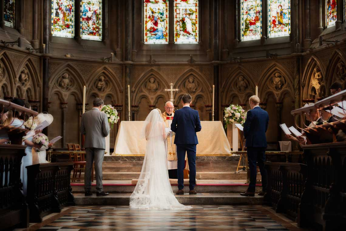 Wedding ceremony at the St Johns College chapel, Cambridge