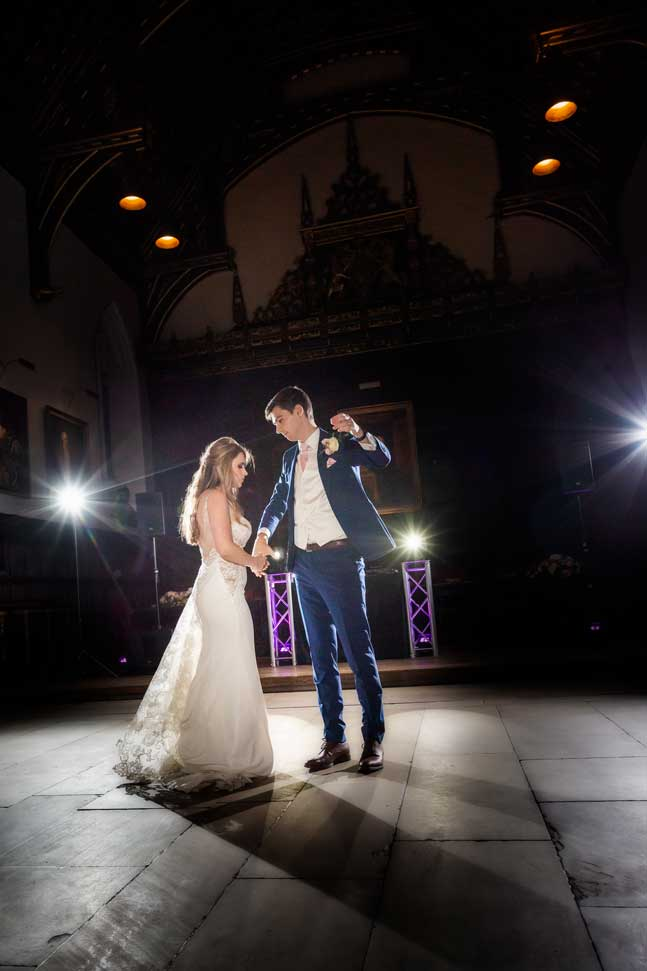 The bride and grooms first dance at St Johns College