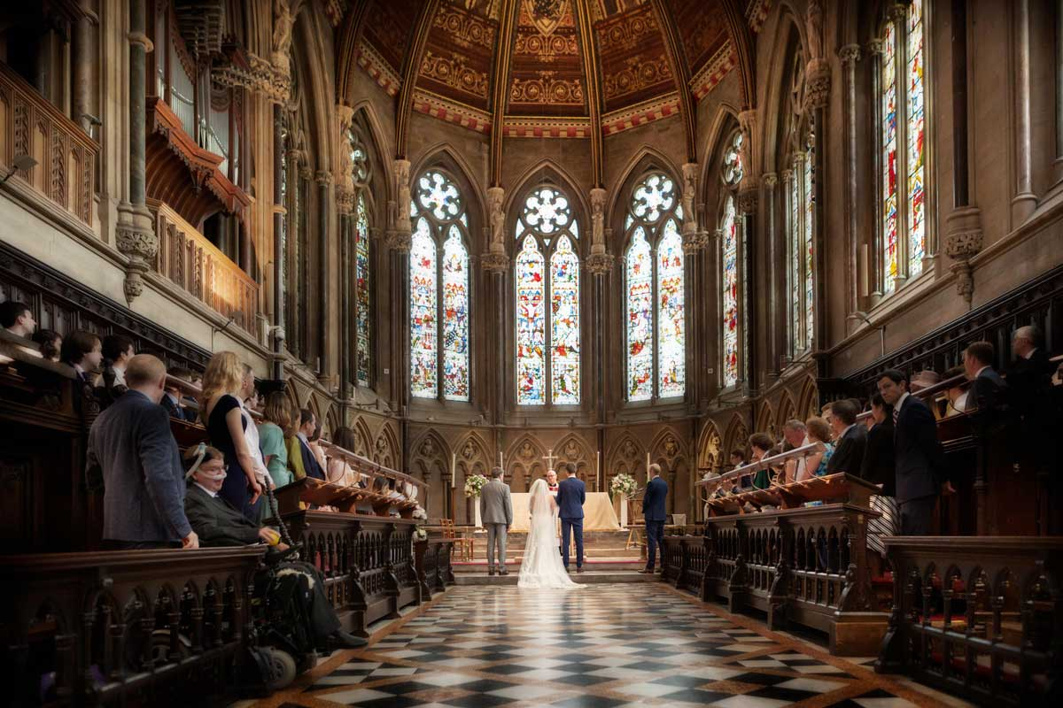 Wedding in the chapel at St Johns College in Cambridge